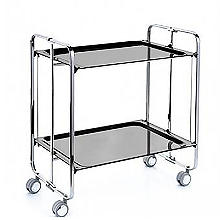 Hahn Neo Folding 2-Tier Serving Trolley Chrome with Gloss Black Trays