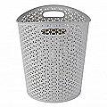 Faux Rattan Waste Paper Basket Grey 13L