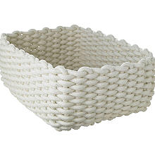 Small Woven Rope Storage Tray Cream 4L