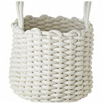 Mini Round Woven Rope Storage Tote Cream 3L