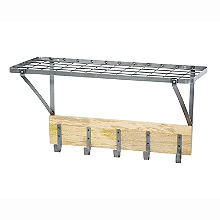 Industrial Kitchen Wall-Mounted Shelf with Hooks