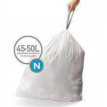 60 simplehuman Size N Drawstring Bin Liners - white bags 45-50L