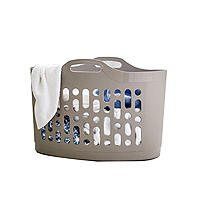 Flexible Plastic Flexi-Store Laundry Basket 50L Latte