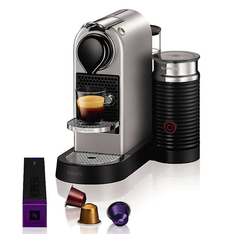 krups nespresso citiz silver with aeroccino3 milk frother 16 capsules ebay. Black Bedroom Furniture Sets. Home Design Ideas