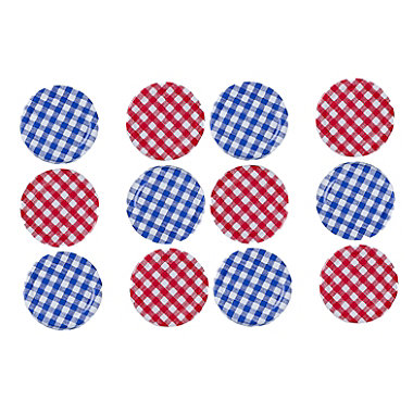 6 Red & 6 Blue Gingham Twist-Off Lids