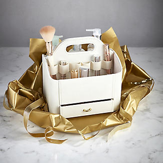 Cream Faux Leather Make Up Storage Caddy alt image 2