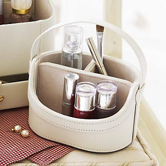 Mini Cream Faux Leather Make Up Storage Caddy alt image 2