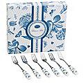 6 Botanic Blue Pastry Forks