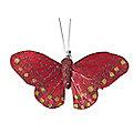 6 Red Clip-On Glitterflies