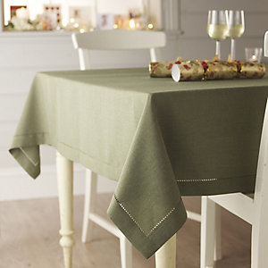Green Linen-Look Tablecloth