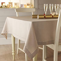 Sand Linen-Look Tablecloth