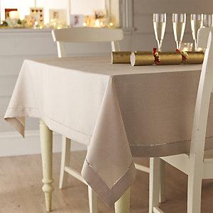 Sand Linen-Look Tablecloth