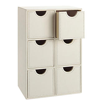 Cream Faux Leather Dressing Table Accessory Drawers alt image 1