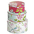 3 Sanderson Porcelain Garden Cake Tins