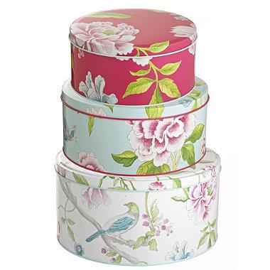 3 sanderson porcelain garden cake tins in cake storage at. Black Bedroom Furniture Sets. Home Design Ideas
