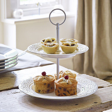 Vintage Teatime Porcelain 2-Tier Cake Stand