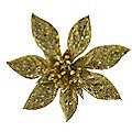 4 Gold Sparkle Poinsettia Clips