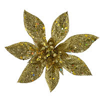 4 Gold Sparkle Poinsettia Clips