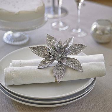 4 Silver Sparkle Poinsettia Clips