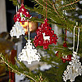 12 Red and White Hanging Christmas Trees
