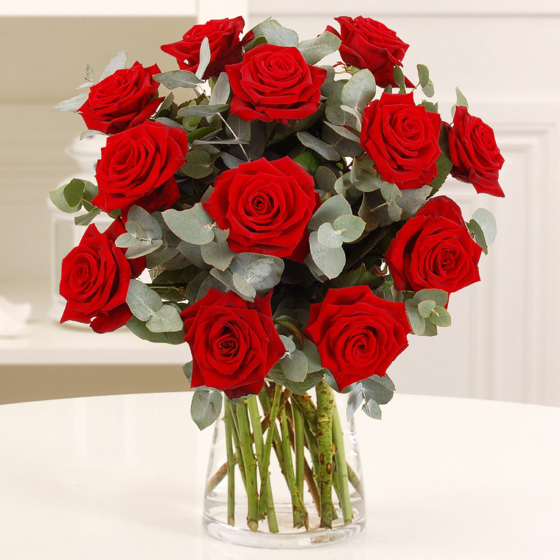 Dozen Red Roses with free express delivery