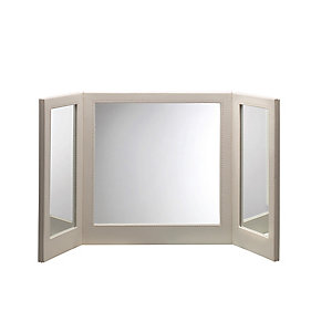 Faux Leather Folding Vanity Mirror - Cream