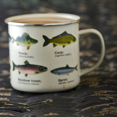 Gone Fishing Enamel Mug