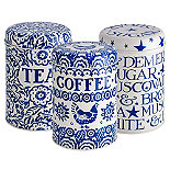 Emma Bridgewater Blue Hen Tea, Coffee and Sugar Caddies