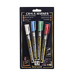 4 Securit Liquid Chalk Notice Board Marker Pens - Coloured