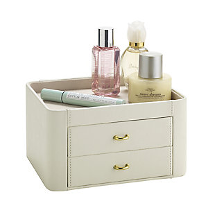 Mini Cream Faux Leather Dressing Table Accessory Drawers