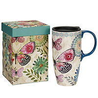Butterfly and Flowers Travel Mug