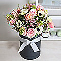 Spring Hat Box Bouquet With Free Express Delivery