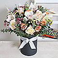 Luxury Orchid Hat Box Bouquet With Free Express Delivery