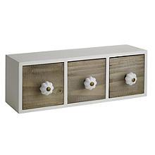 3 Mini Wooden Drawers Dressing Table Organiser