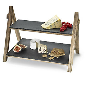Artesa 2 Tier Slate Serving Stand