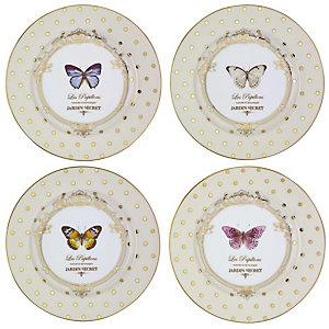 Elegance 4 Porcelain Cake Side Plates Set - Gift Boxed
