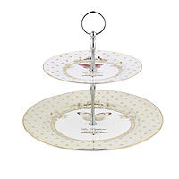 Elegance 2 Tier Porcelain Cake Display Stand - Gift Boxed