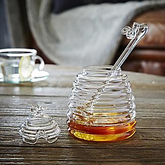 Honigtopf aus Glas mit Servierlöffel alt image 2