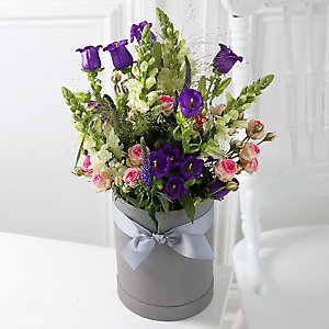 Sunset Hat Box Bouquet With Free Express delivery