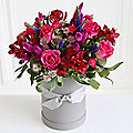 Hot Pink Hat Box Bouquet with Free Express Delivery