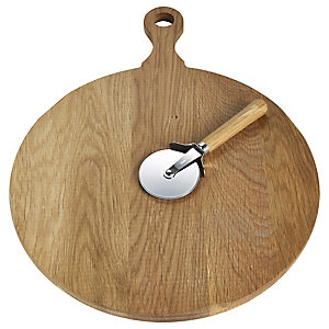 Toscana Harvest Oak Pizza Board with Wheel