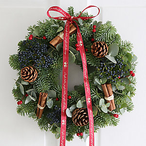 Eucalyptus & Cinnamon Christmas Wreath With Free Express Delivery
