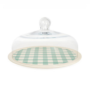 Nigella Green Gingham Cake Plate with Glass Lid