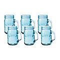 6 Blue Kilner® Drinking Jars with Handles