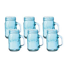 6 Blue Kilner® Drinking Jars with Handles