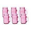 6 Pink Kilner® Drinking Jars with Handles