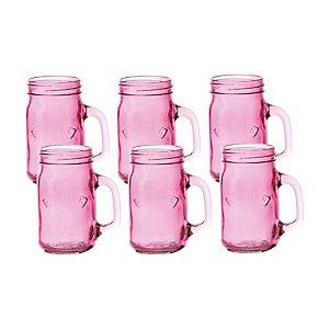 6 Pink Kilner® Drinking Jars with Handles