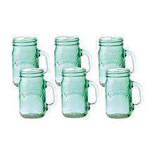 6 Green Kilner® Drinking Jars with Handles