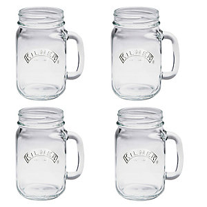 4 Clear Kilner® Drinking Jars with Handles