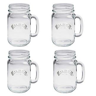 4 Clear Kilner® Drinking Jars with Handles alt image 1